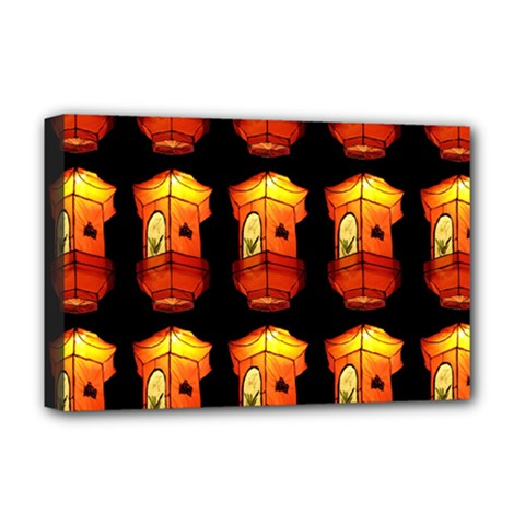 Paper Lanterns Pattern Background In Fiery Orange With A Black Background Deluxe Canvas 18  X 12   by Simbadda