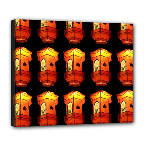 Paper Lanterns Pattern Background In Fiery Orange With A Black Background Deluxe Canvas 24  X 20   by Simbadda