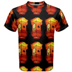 Paper Lanterns Pattern Background In Fiery Orange With A Black Background Men s Cotton Tee by Simbadda