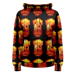 Paper Lanterns Pattern Background In Fiery Orange With A Black Background Women s Pullover Hoodie
