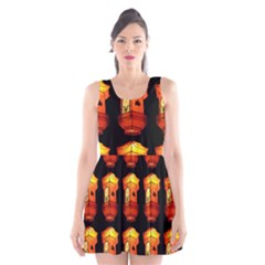 Paper Lanterns Pattern Background In Fiery Orange With A Black Background Scoop Neck Skater Dress