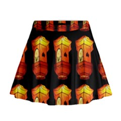 Paper Lanterns Pattern Background In Fiery Orange With A Black Background Mini Flare Skirt