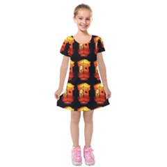 Paper Lanterns Pattern Background In Fiery Orange With A Black Background Kids  Short Sleeve Velvet Dress by Simbadda