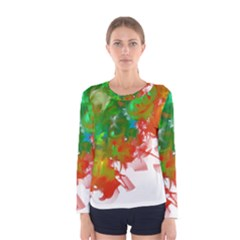 Digitally Painted Messy Paint Background Texture Women s Long Sleeve Tee by Simbadda
