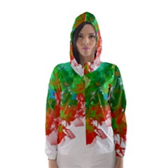 Digitally Painted Messy Paint Background Texture Hooded Wind Breaker (women) by Simbadda
