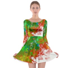 Digitally Painted Messy Paint Background Texture Long Sleeve Skater Dress