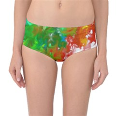 Digitally Painted Messy Paint Background Texture Mid Waist Bikini Bottoms by Simbadda