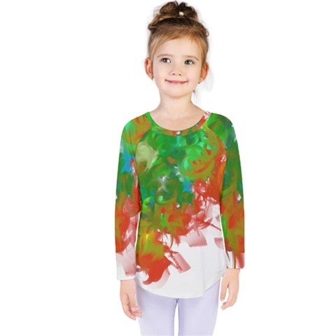 Digitally Painted Messy Paint Background Texture Kids  Long Sleeve Tee by Simbadda