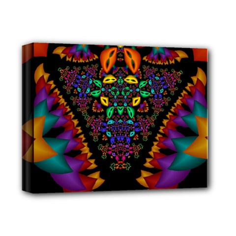 Symmetric Fractal Image In 3d Glass Frame Deluxe Canvas 14  X 11  by Simbadda