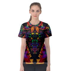 Symmetric Fractal Image In 3d Glass Frame Women s Sport Mesh Tee by Simbadda