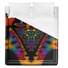 Symmetric Fractal Image In 3d Glass Frame Duvet Cover (queen Size) by Simbadda