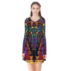 Symmetric Fractal Image In 3d Glass Frame Flare Dress by Simbadda