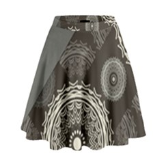 Abstract Mandala Background Pattern High Waist Skirt by Simbadda