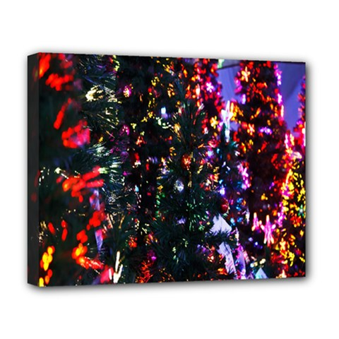 Lit Christmas Trees Prelit Creating A Colorful Pattern Deluxe Canvas 20  X 16   by Simbadda