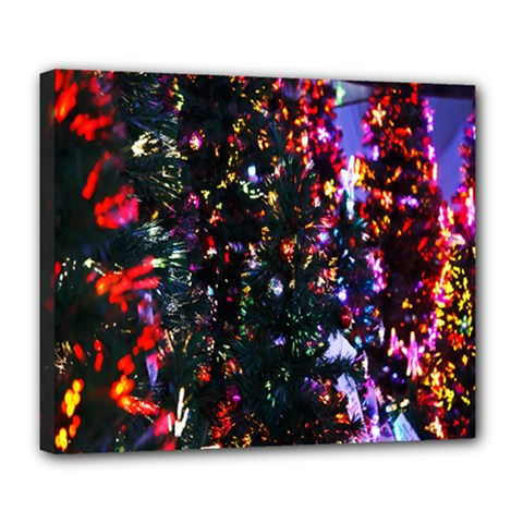 Lit Christmas Trees Prelit Creating A Colorful Pattern Deluxe Canvas 24  X 20   by Simbadda