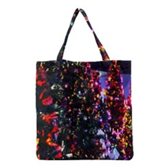 Lit Christmas Trees Prelit Creating A Colorful Pattern Grocery Tote Bag