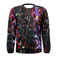 Lit Christmas Trees Prelit Creating A Colorful Pattern Men s Long Sleeve Tee