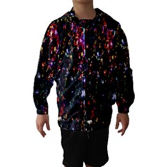 Lit Christmas Trees Prelit Creating A Colorful Pattern Hooded Wind Breaker (kids)