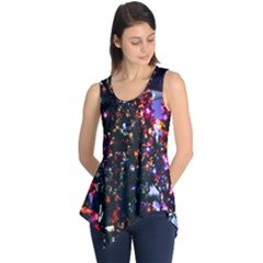 Lit Christmas Trees Prelit Creating A Colorful Pattern Sleeveless Tunic