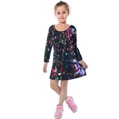 Lit Christmas Trees Prelit Creating A Colorful Pattern Kids  Long Sleeve Velvet Dress by Simbadda