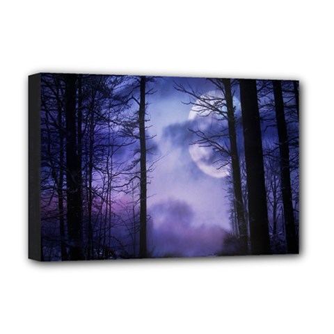 Moonlit A Forest At Night With A Full Moon Deluxe Canvas 18  X 12   by Simbadda
