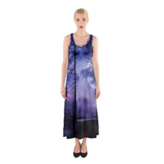 Moonlit A Forest At Night With A Full Moon Sleeveless Maxi Dress by Simbadda