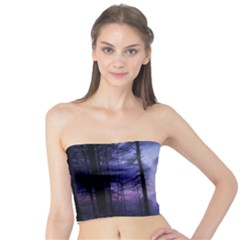 Moonlit A Forest At Night With A Full Moon Tube Top by Simbadda