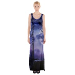 Moonlit A Forest At Night With A Full Moon Maxi Thigh Split Dress by Simbadda