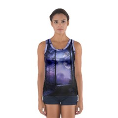 Moonlit A Forest At Night With A Full Moon Women s Sport Tank Top