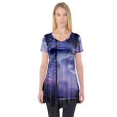 Moonlit A Forest At Night With A Full Moon Short Sleeve Tunic  by Simbadda