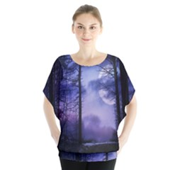 Moonlit A Forest At Night With A Full Moon Blouse