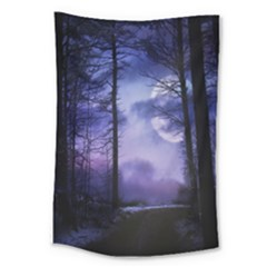 Moonlit A Forest At Night With A Full Moon Large Tapestry by Simbadda