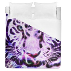 Fractal Wire White Tiger Duvet Cover (queen Size) by Simbadda