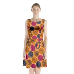 Colorful Trees Background Pattern Sleeveless Chiffon Waist Tie Dress by Simbadda