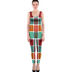 Bricks Abstract Seamless Pattern Onepiece Catsuit by Simbadda