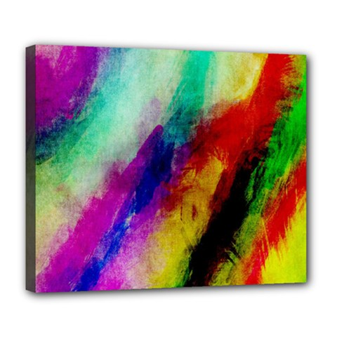 Colorful Abstract Paint Splats Background Deluxe Canvas 24  X 20