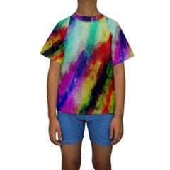 Colorful Abstract Paint Splats Background Kids  Short Sleeve Swimwear by Simbadda