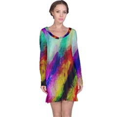 Colorful Abstract Paint Splats Background Long Sleeve Nightdress by Simbadda