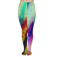 Colorful Abstract Paint Splats Background Women s Tights by Simbadda
