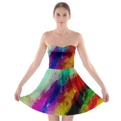 Colorful Abstract Paint Splats Background Strapless Bra Top Dress