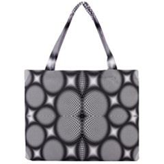 Mirror Of Black And White Fractal Texture Mini Tote Bag