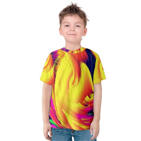 Stormy Yellow Wave Abstract Paintwork Kids  Cotton Tee by Simbadda