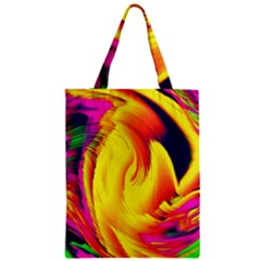 Stormy Yellow Wave Abstract Paintwork Zipper Classic Tote Bag by Simbadda