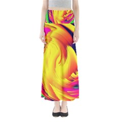 Stormy Yellow Wave Abstract Paintwork Maxi Skirts by Simbadda