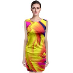 Stormy Yellow Wave Abstract Paintwork Classic Sleeveless Midi Dress