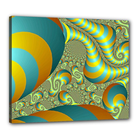 Gold Blue Fractal Worms Background Canvas 24  X 20