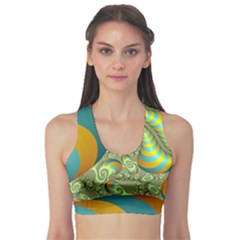 Gold Blue Fractal Worms Background Sports Bra by Simbadda