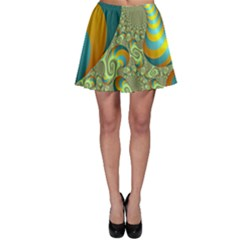 Gold Blue Fractal Worms Background Skater Skirt
