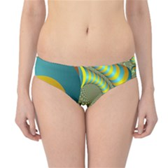 Gold Blue Fractal Worms Background Hipster Bikini Bottoms by Simbadda