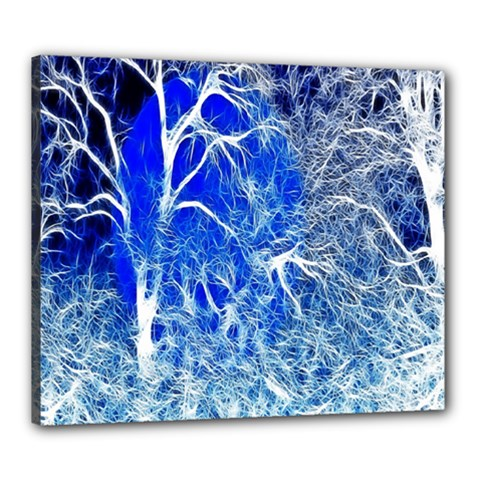 Winter Blue Moon Fractal Forest Background Canvas 24  X 20  by Simbadda